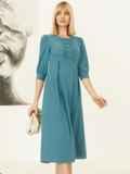 Платье с завышенной талией и юбкой со складками бирюзовое 52970, фото 4