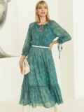 Шифоновое платье-миди с принтом и воланом по низу зеленое 52964, фото 2