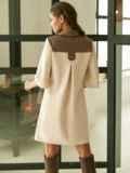 Замшевое платье-рубашка с кокеткой из экокожи бежевое 52967, фото 5