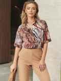 Коричневая блузка с принтом и коротким рукавом 54636, фото 1