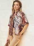 Коричневая блузка с принтом и коротким рукавом 54636, фото 4