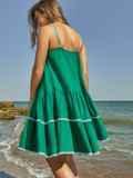 Сарафан зеленого цвета с двухъярусной юбкой 48153, фото 5