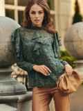 Шифоновая блузка с принтом и оборками зеленая 54632, фото 2