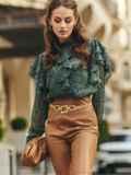 Шифоновая блузка с принтом и оборками зеленая 54632, фото 5