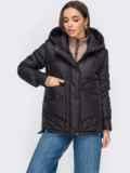 Черная куртка с капюшоном на молнии 53412, фото 2