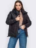 Черная куртка с капюшоном на молнии 53412, фото 3