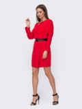 Короткое платье красного цвета с цельнокроеным рукавом 52379, фото 2