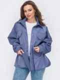 Синяя куртка с поясом на кнопках 53411, фото 2