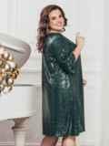 Зелёное платье батал с пайетками и удлиненной спинкой 43280, фото 2