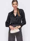 Шелковая блузка свободного кроя с объемными рукавами чёрная 49415, фото 2
