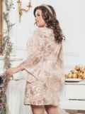 Бежевое платье большого размера из гипюра с пайетками 43288, фото 2