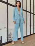 Классический брючный костюм с пиджаком голубой 55052, фото 4