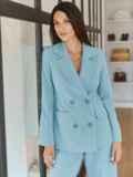 Классический брючный костюм с пиджаком голубой 55052, фото 5