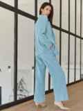 Классический брючный костюм с пиджаком голубой 55052, фото 6
