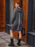Спортивное платье из трехнитки с капюшоном графитовое 52624, фото 3