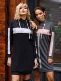 Спортивное платье из трехнитки с капюшоном графитовое 52624, фото 4