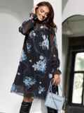 Платье из шифона в цветочный принт с воротником-стойкой черное 52977, фото 1