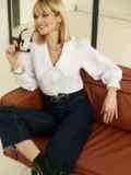 Блузка с акцентным воротником белая 52975, фото 2