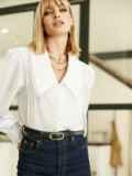 Блузка с акцентным воротником белая 52975, фото 3