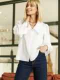 Блузка с акцентным воротником белая 52975, фото 4