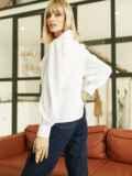 Блузка с акцентным воротником белая 52975, фото 5