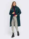 Зеленая стеганая зимняя куртка с воротником-стойкой 55540, фото 1