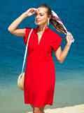 Красное платье с V-вырезом и накладным карманом 38883, фото 1