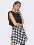 Чёрная блузка oversize с уплотненными плечами 52386, фото 2