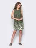Льняное платье с контрастной прошвой по низу зеленое 11188, фото 3