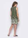Льняное платье с контрастной прошвой по низу зеленое 11188, фото 4
