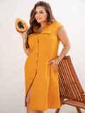 Желтое платье с накладными карманами 54348, фото 1