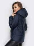 Куртка с капюшоном и накладными карманами тёмно-синяя 12959, фото 3