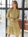 Платье с цветочным принтом и воланом по низу оливковое 55040, фото 2