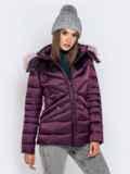 Зимняя куртка со съёмным капюшоном фиолетовая 40170, фото 2