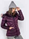 Зимняя куртка со съёмным капюшоном фиолетовая 40170, фото 3