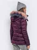 Зимняя куртка со съёмным капюшоном фиолетовая 40170, фото 4