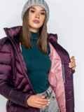 Зимняя куртка со съёмным капюшоном фиолетовая 40170, фото 5