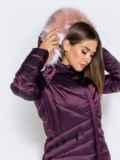 Зимняя куртка со съёмным капюшоном фиолетовая 40170, фото 6