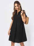 Черное платье-трапеция со встречными складками по полочке 53949, фото 4