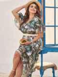 Шифоновое платье батал с принтом и резинкой по талии зеленое 54457, фото 1
