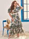 Шифоновое платье батал с принтом и резинкой по талии зеленое 54457, фото 2
