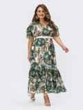 Шифоновое платье батал с принтом и резинкой по талии зеленое 54457, фото 4