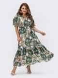 Шифоновое платье батал с принтом и резинкой по талии зеленое 54457, фото 5