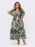 Шифоновое платье батал с принтом и резинкой по талии зеленое 54457, фото 6