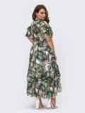 Шифоновое платье батал с принтом и резинкой по талии зеленое 54457, фото 7