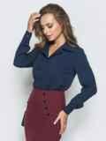 Тёмно-синяя блузка из софта с отложным воротником 39930, фото 2