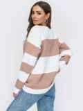 Вязаный полосатый свитер пудрового цвета 53593, фото 3