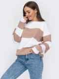 Вязаный полосатый свитер пудрового цвета 53593, фото 2