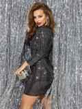 Платье-миди из трикотажа с пайетками чёрного цвета 42783, фото 3