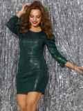 Платье-миди из трикотажа с пайетками зелёного цвета 42781, фото 2